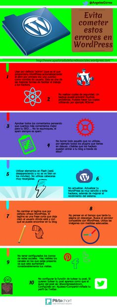 Evita cometer estos errores en WordPress #infografia