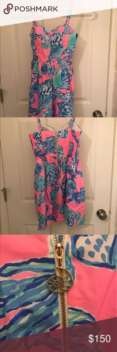 """Lily Pulitzer """"shell ya"""" dress I've tried this dress on but never worn it out. But it did not fit properly as it was too big. Trying to get some of what I paid back :) I had ordered it online and unfortunately waited to long and was unable to return it. Lilly Pulitzer Dresses Mini"""