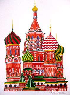 Russian Cathedral print of an original watercolor by irinashop, $20.00