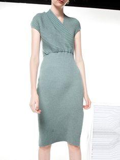 #AdoreWe #StyleWe PRODUCTION GARDEN Slit Short Sleeve Surplice Neck Sweater Dress - AdoreWe.com