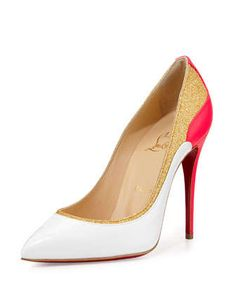 Tucskick+GIittered+Red+Sole+Pump,+White/Gold+by+Christian+Louboutin+at+Neiman+Marcus.