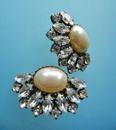 1950s Vintage oval pearls & clear  Rhinestone by RAKcreations