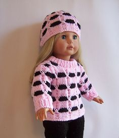 Winter Sweater Set PDF knitting pattern for 18 doll Knitted Doll Patterns, Knitted Dolls, Knitting Patterns, Knitting Stitches, American Doll Clothes, Girl Doll Clothes, Girl Dolls, American Dolls, Minion Crochet