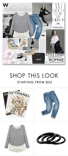 """ROMWE // Loose Grey Sweater"" by sandra-smileska ❤ liked on Polyvore featuring Rika, Burton, Balmain, Assouline Publishing, Chanel, Furla, NARS Cosmetics, MICHAEL Michael Kors, women's clothing and women"