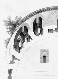 Fragmento de la bóveda de una galería del Palatino, de Roma, del libro de Auguste Choisy, L'art de bâtir chez les Romains, publicado en París, en 1873).(446×600)