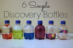 DIY 6 Sensory Discovery Bottles Tutorial from Inner Child Learning here. Water and Beads Water and Dish Soap Water and Oil Water, Clear Glue and Glitter Water and Buttons Water and Foam Shapes Baby Sensory, Sensory Activities, Infant Activities, Activities For Kids, Sensory Play, Preschool Science, Science For Kids, Science Ideas, Baby Crafts