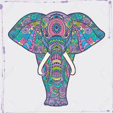 Greeting Beautiful card with Elephant Frame of animal made in vector Illustration for design pattern textiles Hand drawn map with Elephant Bright print on t-shirt cup canvas and other object Mandala Elephant, Elephant Print, Indian Elephant Art, Elefante Hindu, Elephant Cross Stitch, Elephant Coloring Page, Elephant Illustration, Dot Art Painting, Funny Drawings