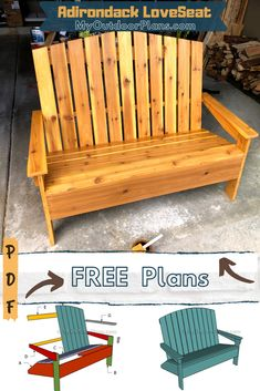 Backyard Projects, Diy Wood Projects, Popular Woodworking, Woodworking Projects, Adirondack Chair Plans, Wooden Playhouse, Diy Shed, Diy Bench, Bench Plans