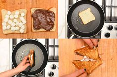Spread marshmallows and Nutella on two slices of bread, and place them in a buttered pan over medium-low heat: