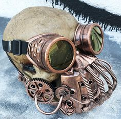 Steampunk - STEAMPUNK 'BANE' 2 pc Mask Goggles Set- Distressed Copper Tubes Coils Gears Post Apocalyptic Mask with Matching Welder Goggles-Burning Man by jadedminx