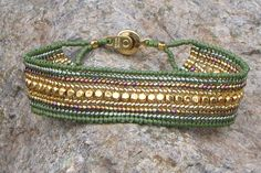 "7"" Olive Green and Gold Bead-Woven Bracelet - 10% Discount Available. $25.00, via Etsy."