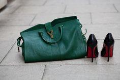 YSL bag and Louboutins