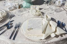 lace table cover and calligraphy menu