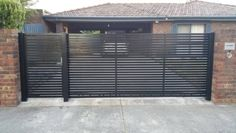 If you need a new Automatic Gates in Melbourne? Then contact Kontis Fencing are experts with automatic gates Melbourne wide. Select from a big range of styles to enhance your property. House Gate Design, Modern Landscaping, Entrance Gates Design, Modern Driveway, Front Gate Design, Front Fence, Sliding Gate, Iron Front Door