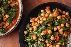 An easy vegan recipe for Indian chickpea curry with spinach. You will need onion, ginger, tomatoes, cilantro, cumin, coriander, and paprika.