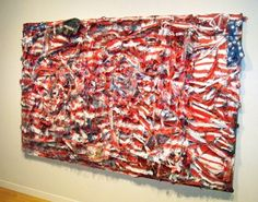 """Thornton Dial """"Don't Matter How Raggly The Flag, It Still Got To Tie Us Together""""  (mattress coils, chicken wire, clothing, can lids, found metal, plastic twine, wire, Splash Zone compound, enamel, spray paint, on canvas on wood)"""