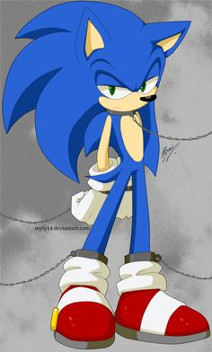 Sonic: Now that you've caught me, you get to listen to me sass you. (Actually, he looks pretty mad here. He may not feel like sassing. Wonder who caught him and what they plan to do with him.) [Chains by Myly14 on deviantART - Sonic the Hedgehog]
