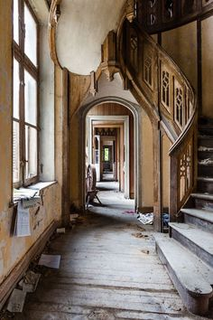 staircase inside the abandoned Château Clochard in France