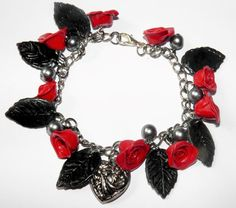 Rock Chick Rose Bracelet, Red Rose and Black Leaf Handmade Polymer Clay Charm Bracelet with Beads