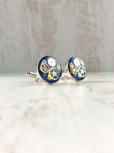Steampunk by OneDottyDuck Wedding Cufflinks, Steampunk, Bright, Trending Outfits, Unique Jewelry, Handmade Gifts, Blue, Accessories, Vintage