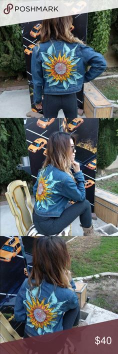 Sunflower Jean Jacket Hand painted Jean jacket by my boyfriend - ChildhoodStudio on Etsy.  Great for every day wear as a staple piece to spice up your wardrobe.  Also great for raves, concerts, festivals, etc.  Unbranded.  Tags:  rave, Coachella, music festival, UNIf, dollskill, urban outfitters, forever 21, revolve, recycle, vintage LF Jackets & Coats Jean Jackets
