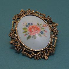 Vintage Porcelain Rose & Forget-me-nots Hand Painted Pendant