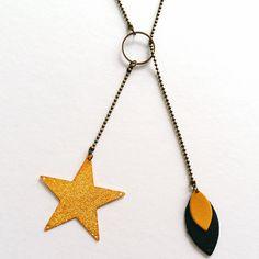 Collier sautoir Etoile - Cuir noir et jaune et métal bronze - Agathe et Ana