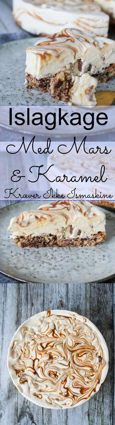 Islagkage med karamel og mars er en virkelig lækker sammensætning i en dessert. Islagkage er altid et hit og det bedste er at den ikke kræver ismaskine og du kan nemt lave den en hel måned i forvejen. Det er da bare skønt! #Islagkage #Dessert #is #Karamel #Chokolade #Mars Cooking Cookies, Ice Ice Baby, Great Recipes, Sweet Tooth, Recipies, Deserts, Food And Drink, Ice Cream, Parfait