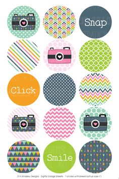 This listing is for a x digital collage sheet with circles / bottlecap images. Bottle Cap Art, Bottle Cap Crafts, Diy Bottle, Bottle Cap Images, Digital Collage, Digital Camera, Circle Scrapbook, Hama Beads Minecraft, Badge Design