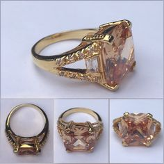 Amber gold tone fashion ring NWT gorgeous princess cut ring. Purchased at Macy's Jewelry Rings