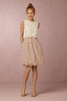mix and match bridesmaid separates | Cleo Top & Lydia Lace Skirt from BHLDN