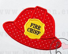 Fireman Helmet Hat Fire Chief Boys Applique Design Machine Embroidery Pattern Instant Download