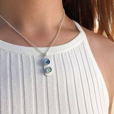 Hot Mother/'s Day Gift Lady Tropical Abalone Shell Gems Silver Necklace Pendant