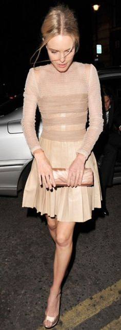 Kate: Nude Cocktail Dress.  What a pretty outfit and purse!