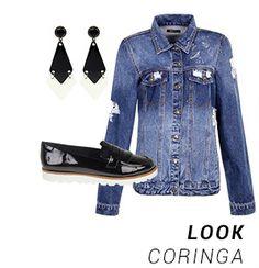Camisa jeans, brincos e sapato de vinil. LOOK CORINGA