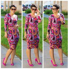 DIY Printed Mesh Dress & Suede Heels #DIY #V1314