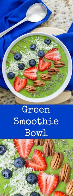 Take your smoothie from Snack Status to full-blown Meal Replacement with this colorful, filling Green Smoothie Bowl. Naturally vegan, gluten free, and ready in minutes.