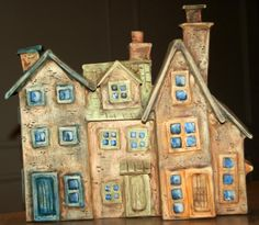 stoneware row houses Clay Houses, Ceramic Houses, Ceramic Birds, Miniature Houses, Ceramic Clay, Pictures On String, Pottery Houses, Little Houses, Small Houses
