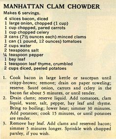 Manhattan Clam Chowder - Antique Recipes