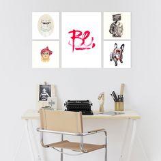 """Pack de 5 cuadros con ilustraciones hipster y frase """"Be"""""""