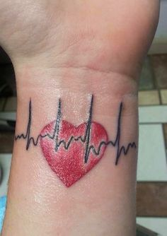 One of our heart moms recently got this tattoo of her little heart warriors actual EKG. Ekg Tattoo, Mark Tattoo, Couple Tattoo Heart, Small Couple Tattoos, Paar Tattoos, Neue Tattoos, Mom Tattoos, Body Art Tattoos, Tatoos