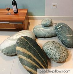 Mix-Color-River-Rocks-Livin These are pillows!  How cool is that???