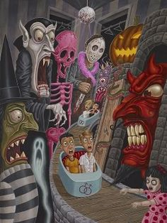 """This magnificent artwork was created by Michael """"Pooch"""" Pucciarelli, an extraordinary up and coming artist in the Pop Surrealism/ Lowbrow scene. Arte Horror, Horror Art, Casa Halloween, October Art, Psychedelic Drawings, Lowbrow Art, Hippie Art, Pop Surrealism, Surreal Art"""