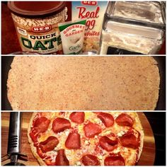 HEALTHY PIZZA - egg white, oat & garlic crust w/ any toppings you want