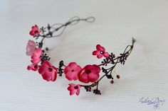 Red pink flower crown with burgundy berries and crystals Elven floral wreath…