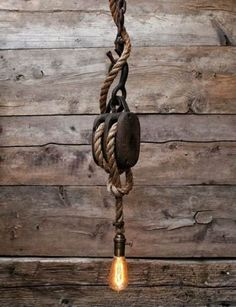 The Set Sail Pendant Light – Rustic Wooden barn Pulley lamp – Industrial Hanging lighting – Ceiling Rope fixture edison bulb - Flaschenzug Ideen Pulley Pendant Light, Rustic Pendant Lighting, Industrial Chandelier, Industrial Light Fixtures, Edison Lighting, Rustic Lamps, Industrial Lighting, Vintage Lighting, Industrial Hanging Lights