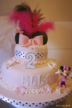 Minnie Mouse Inspired two tier birthday cake