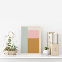 Mid Century Modern Printable Color Block large Wall Art, digital download #etsy #midcentury #modern #minimalist #junejournal #digitalprint #printablewallart #wallart