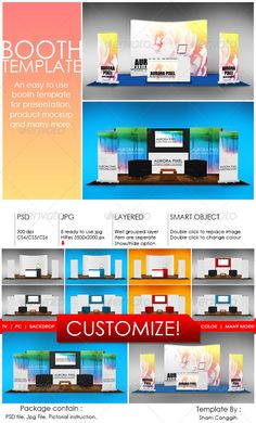 Booth Template Part 7 #GraphicRiver Booth template for presentation, product mock up or anything. Easy to customize. Just paste/replace your design in the smart object or use ready rendered jpg file. The package contain: Layered and grouped with smart object psd file with 300dpi 8 'ready to use' jpg file with 3500×2000 pixel Instruction file with picture for operating the psd file given PSD file featured: Double-click on the smart object (new window .psb will open) for editing/replacing the…