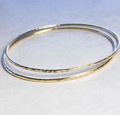 Hammered Gold Bangles Set of Two. Sturdy 12 Gauge by KatAndMuse, $105.00